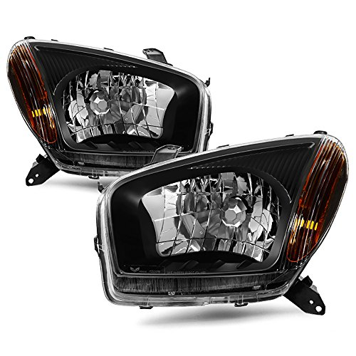 VIPMotoZ 2001-2003 Toyota RAV4 Headlights - Matte Black Housing, Driver and Passenger Side (Headlight Toyota Driver Rav4)