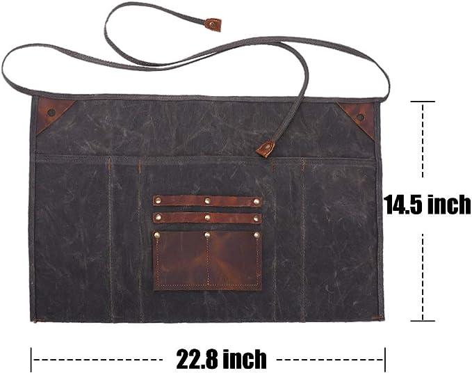 TUYU Heavy-Duty Tool Apron Waxed Canvas Half-Waist Apron with 2 Pockets Leather