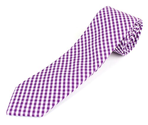 Men's Cotton Skinny Necktie Tie Gingham Checkered Pattern - Purple Checkered Silk Necktie Tie