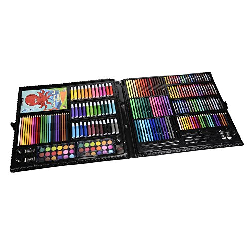 KIDDYCOLOR 285-Piece Deluxe Art Creativity Set for Kids with Plastic Case, Great Gift for Kids