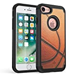 iPhone 7 Case, iPhone 8 Case, True Color Basketball Sports Vaultek Case Printed on Heavy Duty Hybrid Dual Layer Protective Durable Shockproof Rugged Cover