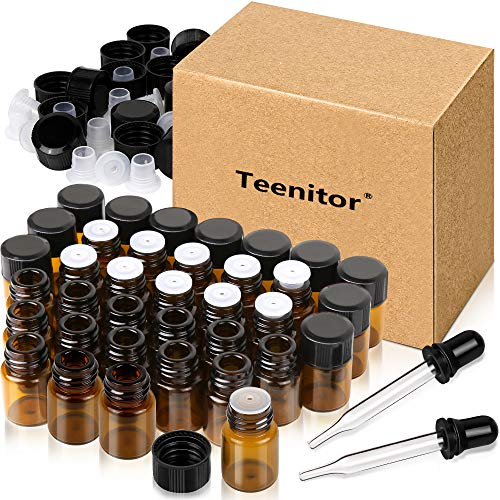 Oil Bottles for Essential Oils, Teenitor 36 Pcs 2 ml (5/8 Dram) Amber Glass Vials Bottles, with Orifice Reducers and Black Caps, with 2 Free Glass Transfer Eye Droppers [USA Seller] Shipping by FBA (Best Oil To Mix Essential Oils With)