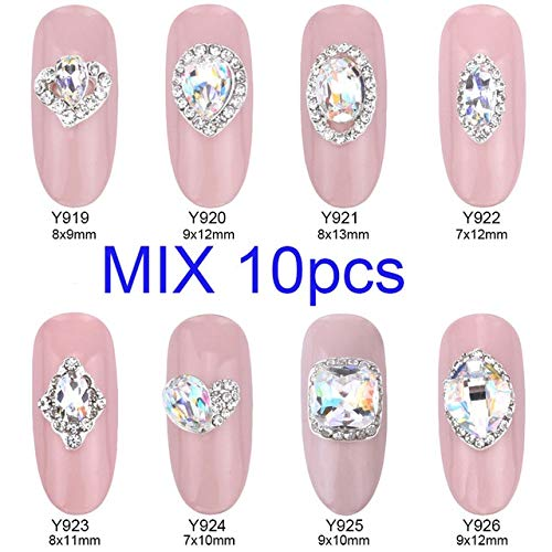 Alloy Nail Charms, Nail Art Rhinestones, 10Pcs Crystal Strass Nail Stones Alloy 3D Decorations Sparkle Nail Charms Rhinestones For Designer Jewelry Accessories - Style Mix ()