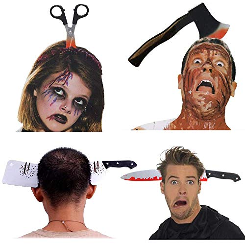 Gbivbe Halloween Horror Headbands, Scary Zombie Costume Cosplay Horror Through Head Accessories Party Decorations One Size Fits All (4 Pcs)