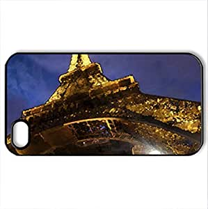 La tour Eiffel - Case Cover for iPhone 4 and 4s (Modern Series, Watercolor style, Black)