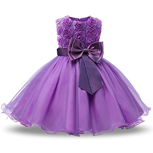 NNJXD Girl Sleeveless Lace 3D Flower Tutu Holiday Princess Dresses Size 6-7 Years Purple ()