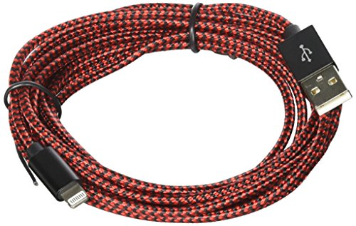 le 3Pack 10FT Extra Long Nylon Braided Cord iPhone Charger Compatible iPhone 8 8Plus X 7 7 Plus 6 6S 6S Plus SE 5S 5 iPad iPod Nano 7(Red) ()