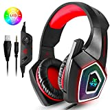 PS4 Gaming Headset, Wired PC Gaming Headset with mic, 3.5mm Over-Ear Bass Stereo, Control Noise , Colourful LED Light for Xbox One S, Nintendo Switch, PC, Laptop, Tablet, Mobile (Red)