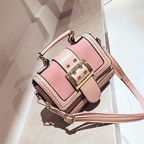 Air Niet Single Schulter Handtasche 20 * 17 * 8 cm schräg Tasche, Schwarz Rosa