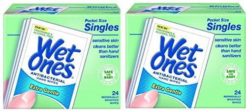Wet Ones Sensitive Skin Hand and Face Wipes Singles, 24-Count (Pack of 2 -Total of 48)