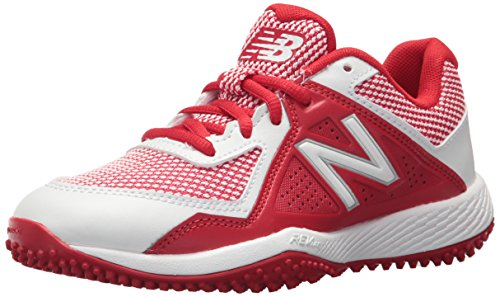 White Turf Baseball Shoes (New Balance Boys' TY4040V4 Turf Baseball Shoe, Red/White, 2 Medium US Little Kid)