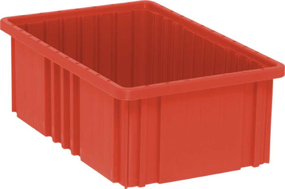 Quantum Storage Systems DG92060RD Dividable Grid Container 16-1/2-Inch Long by 10-7/8-Inch Wide by 6-Inch High, Red, 8-Pack