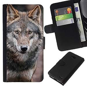 KingStore / Leather Etui en cuir / LG OPTIMUS L90 / Lobo Perro salvaje Brown Forest Fairytale Ojos