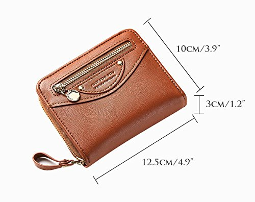 Small Compact Bifold Leather Pocket Wallet Purse for Women Clutch with ID Window Zipper Pocket Coin Card Cash Winered by Machao (Image #3)