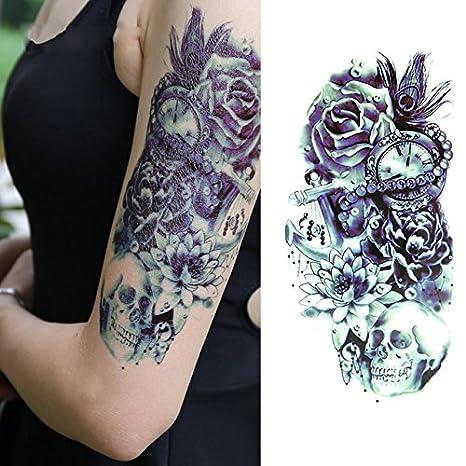 Oottati Tatuajes Temporales Old School Reloj Azul Flor Del Cráneo (2 hojas)