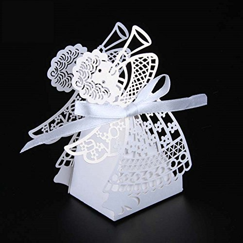 Saitec 50pcs Laser cut angel wedding box souvenirs baby shower candy box gift box party supplies wedding decoration (White)]()