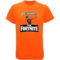 Fashion Maillot - Tee Shirt Fortnite Enfant de la Victoire Royale Orange Fluo Taille DE 3 à 13 Ans - 3/4 Ans,7/8 Ans,5/6 Ans,9/11 Ans,12/13 Ans