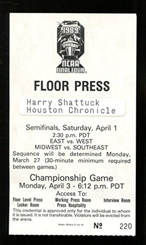 1989 Michigan Wolverines Basketball (1989 NCAA Final Four Basketball Press Pass Ticket Kingdome Michigan Wolverines)