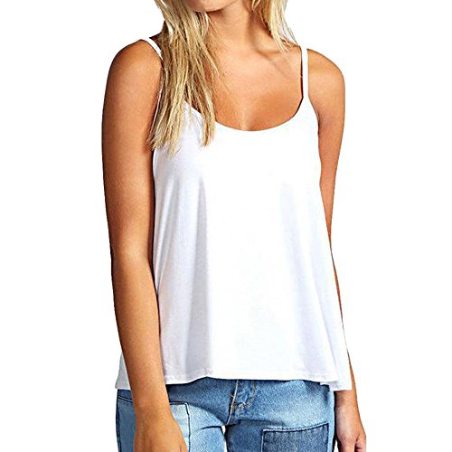 KIKOY Fashion Womens Sleeveless Solid Casual Camisole Short Tunic Soft Vest Top -