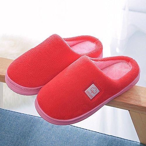 Coppie fankou home cotone pantofole indoor anti-slittamento dello spessore di soggiorno incantevole caldo pantofole verde invernale ,35-36, tra uomini e donne.