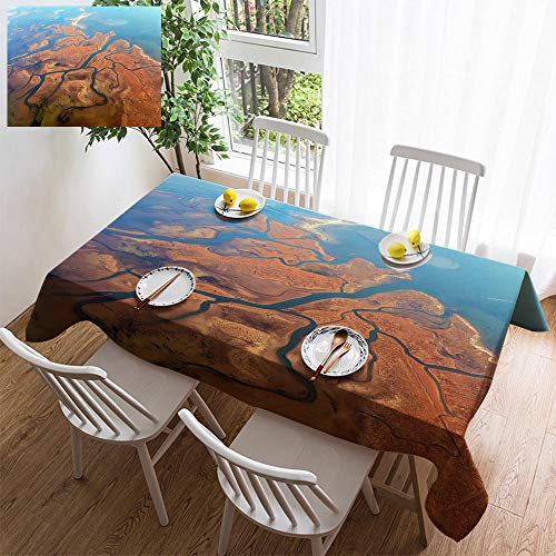 HOOMORE Simple Color Cotton Linen Tablecloth,Washable, Aerial View of Lagoons Near Venice Veneto Italy Europe Decorating Restaurant - Kitchen School Coffee Shop Rectangular 60×54in