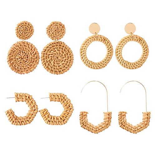 Szory Handmade Rattan Earrings for Women Trendy Statement Earrings 4 Pairs