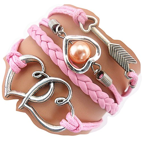Handmade Heart to Heart Arrow Charm Friendship Gift - Braid Suede Personalized Leather Bracelet