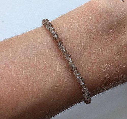 Genuine Natural Brown Zircon Bracelet - Real Gemstone 3mm Gem Beads - 14K Gold Clasp - Sparkly, Girly, Feminine, Unique, Gem Jewelry (Zircon Natural)