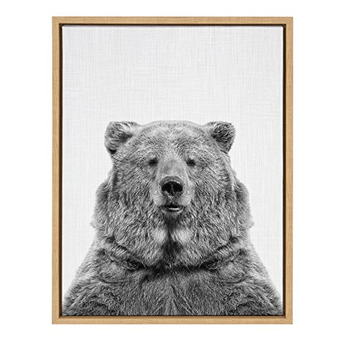 Kate and Laurel - Sylvie Bear Animal Print Black and White Portrait Framed Canvas Wall Art by Simon Te Tai, Natural 18x24