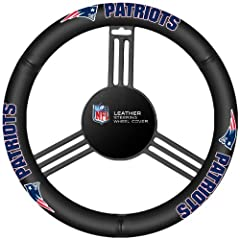 Drive in style with this genuine high grade leather steering wheel cover.It is easy to slip onto the steering wheel with no lacing. The cover features your favorite team colors and logo and fits most steering wheels.Imported