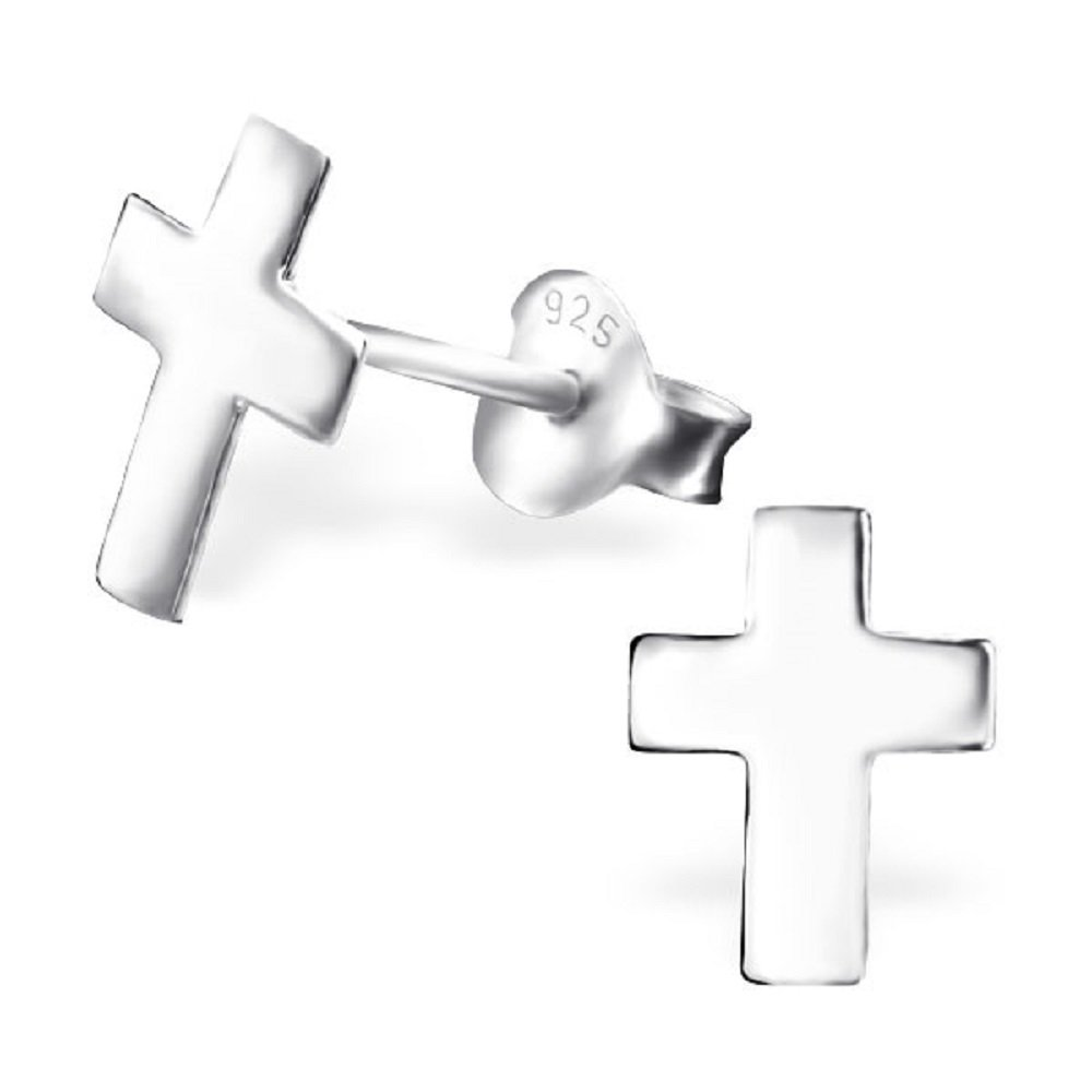 925 Sterling Silver Cross Stud Earrings 22570