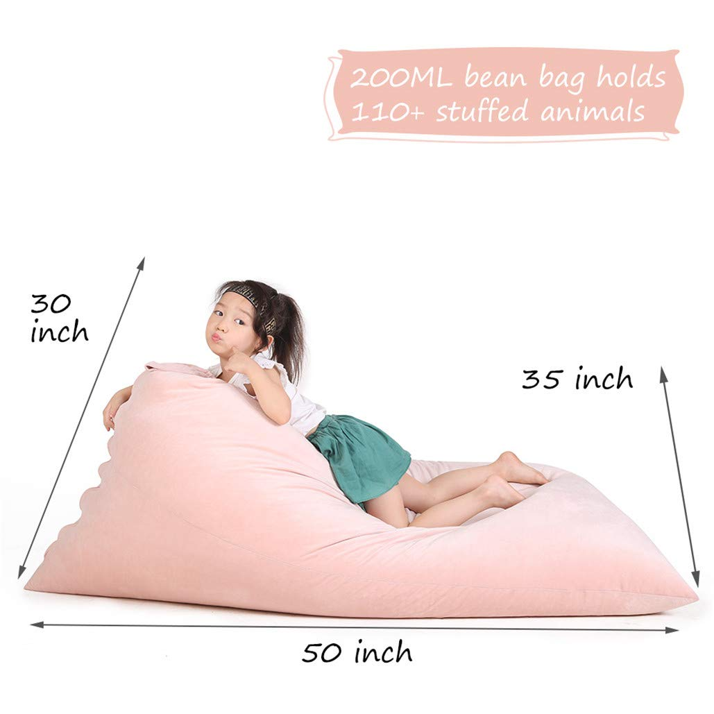 Stuffed Animal Bean Bag Chair for Kids and Adults. Luxury Velvet Stuffed Seat - Cover ONLY(Sweet Pink 200L/52 Gal) by Jorbest (Image #4)