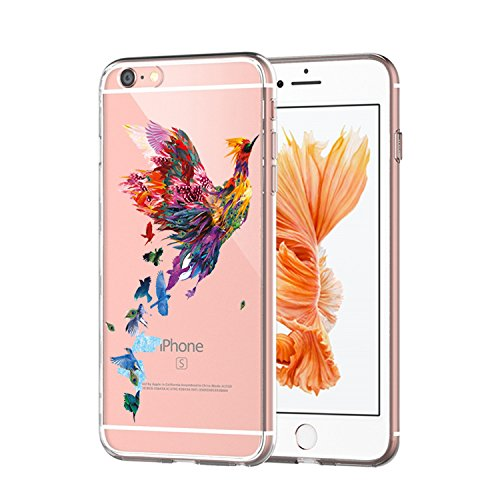 Matop Compatible/Replacement iPhone 6s 6 Case Crystal Clear Transparent Slim Shockproof Protective Ultra Thin Soft Silicone Bumper Cover Cute TPU for iPhone 6 iPhone 6s 4.7 inch (Colorful Phoenix) ()