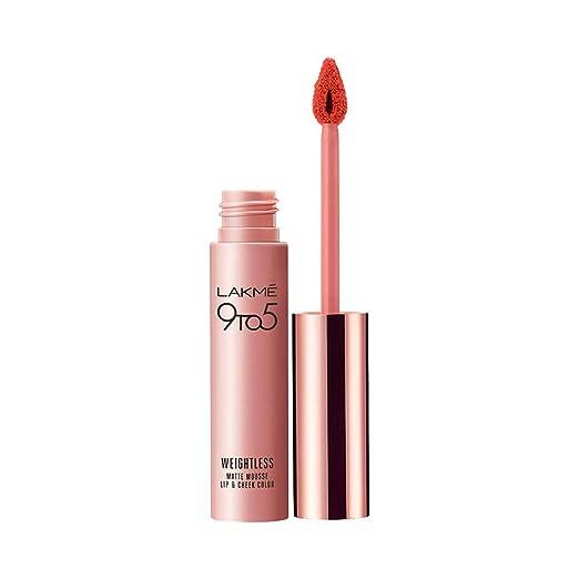 Lakme 9 to 5 Weightless Mousse Lip   Cheek Color, Tangerine Fluff, 9 g Lipsticks