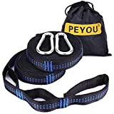 Hammock Tree Straps, PEYOU [2 Pack] 2200+ LBS 19.6 FT 34 Loops Hammock Straps, Adjustable Heavy Duty Hammock Tree Straps Swing Straps Yoga Straps& Hanging Kit w/ 2 Premium Steel Carabiner Hooks, 100% No Stretch Polyester Straps For Hammock, Swing, Camping, Outdoor Sports and More