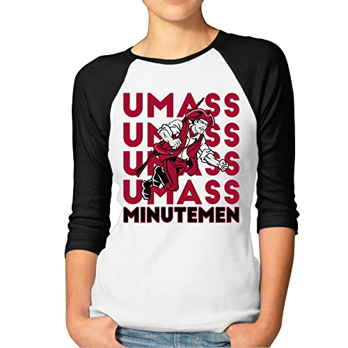 RERR Women's University Of Massachusetts Boston Raglan 3/4 Sleeve T-Shirt Black Size S