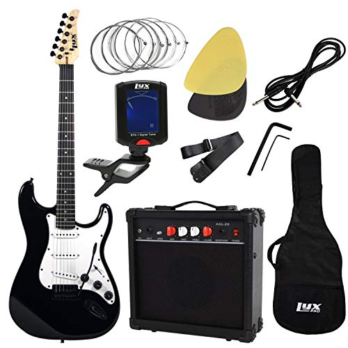 LyxPro Complete Beginner Starter kit Pack Full Size Electric Guitar with 20w Amp, Package Includes All Accessories, Digital Tuner, Strings, Picks, Tremolo Bar, Shoulder Strap, and Case Bag (Renewed)