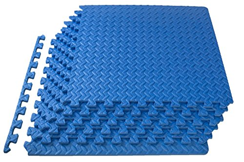 ProSource Puzzle Exercise Mat, EVA Foam Interlocking Tiles, 24 Square Feet, (Blue Polished Flooring)
