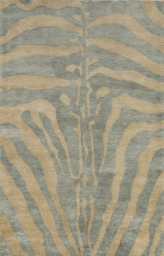 "Momeni Rugs SERENSG-03ICE3656 Serengeti Collection Area Rug, 3'6"" x 5'6"", Ice Blue"