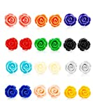 LOYALLOOK 12 Pairs Assorted Colors Resin Rose Flower Earring Studs Set Stainless Steel Post,Nickel-free