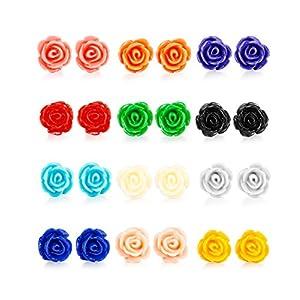 LOYALLOOK 12 Pairs Assorted Colors Resin Rose Flower Earring Studs Set Stainless Steel Post,Nickel-free