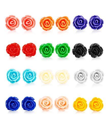 LOYALLOOK 12 Pairs Assorted Colors Resin Rose Flower Earring Studs Set Stainless Steel Post,Nickel-free 10MM