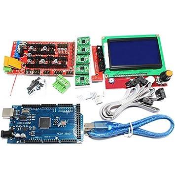 Semoic 1Pcs Mega 2560 R3 Ch340 + 1 Piezas Rampas 1.4 Controlador + ...