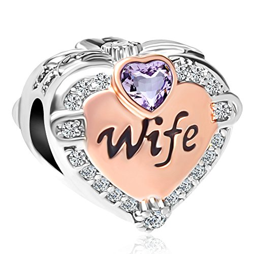 CharmSStory Heart Rose Gold Wife Love Birthday Charms Beads for Bracelets & Necklaces (Purple)