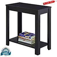 Narrow Chairside End Table with Storage Display Shelf Living Room Wood Nightstand Chairside Accent Coffee Bedside Sofa Table Phone Stand Bedroom Living Room Hallway Home Furniture eBook by BADA shop