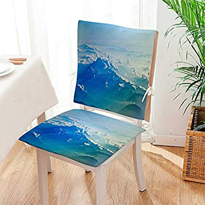 Mikihome Chair Cushion 2 Piece Set A Spectacular Snow Mountain View Indoor/OutdoorSoft Thicken Mat:W17 x H17/Backrest:W17 x H36