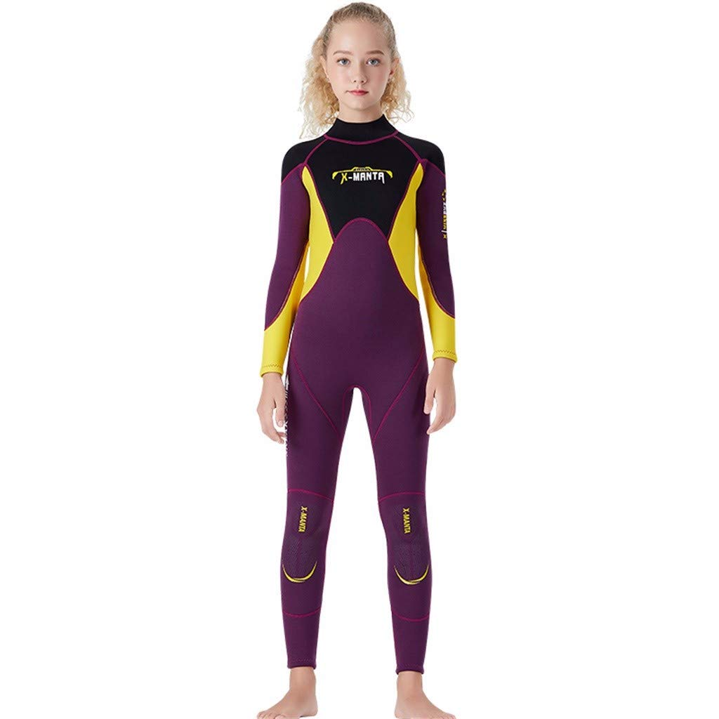 MTENG 2.5MM Neoprene Keep Warm Snorkeling Kids Girl Boy Scuba One-Piece Diving Suit Wetsuit Surfing Swimwear by MTENG