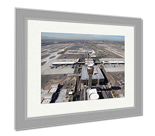 Ashley Framed Prints Sky Harbor Airport And Control Tower, Wall Art Home Decoration, Color, 34x40 (frame size), Silver Frame, - Airport Sky Harbor Shops