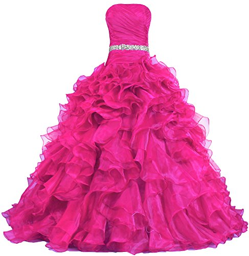 ANTS Women's Pretty Ball Gown Quinceanera Dress Ruffle Prom Dresses Size 20W US Hot Pink