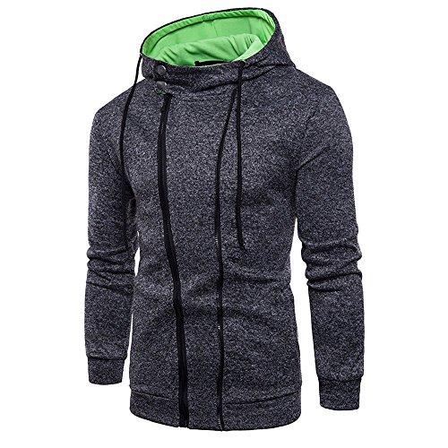 Mens Long Sleeve Blouses Clearance Men's Long Sleeve Zipper Hoodie Hooded Sweatshirt Top Tee Outwear Blouse By WEUIE (L, Black) by WEUIE